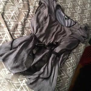 Gray metallic dressy blouse with ribbon